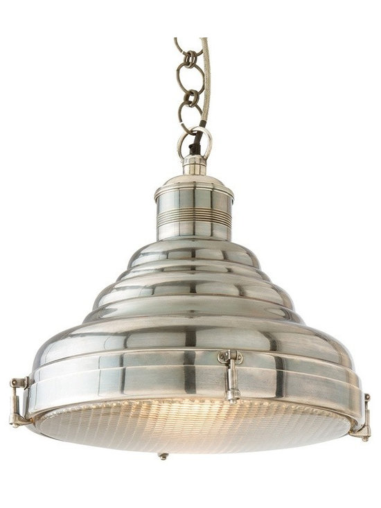 Arteriors Floyd Pendants - Large scale vintage silver pendant with waffel pattern glas diffuser that has easy release clamps.