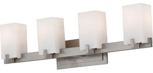 Riva Brushed Steel Four-Light Bath Fixture contemporary-bathroom-vanity-lighting