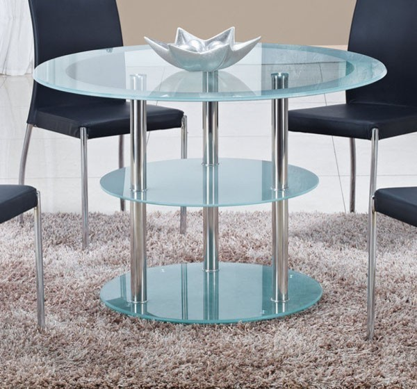 Round Frosted Glass Dining Table With