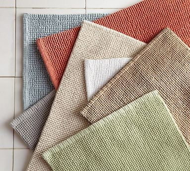 "Textured Organic Cotton Bath Rug, 21 x 34"", Light Truffle traditional-bath-mats"