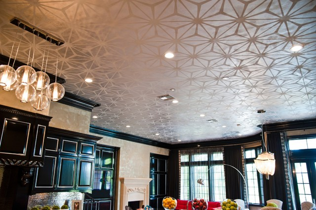 Custom Stenciled Ceilings With Metallic Plaster Walls