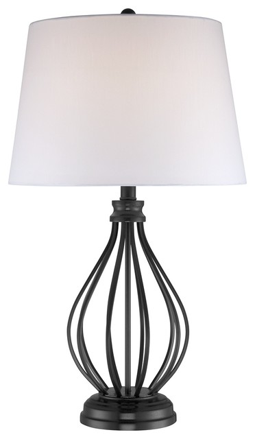 Iron Black Open Frame Gourd Base Table Lamp traditional-table-lamps