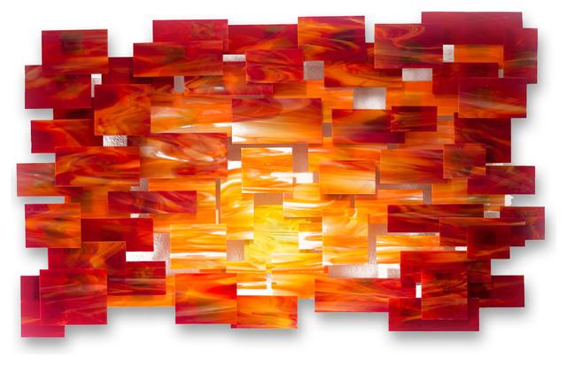 Glass and metal wall sculpture sunset modern for Orange wall art