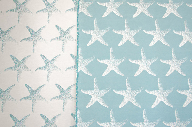 White and coral curtains - Starfish Fabric Blue Star Fish Reversible Upholstery Beach Style