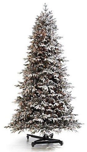 Pre-lit Snowy Nordmann Fir Pro Shape Artificial Christmas Tree. with FlipTree St traditional-holiday-decorations
