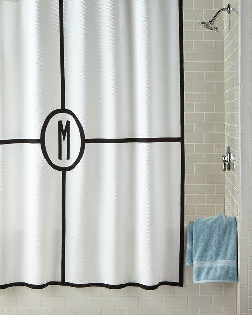 Vertical Striped Shower Curtain Coral Monogramme