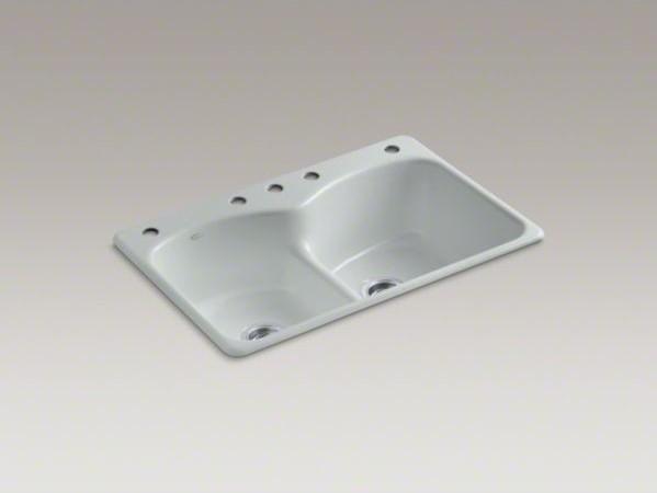 "KOHLER Langlade(R) 33"" x 22"" x 9-5/8"" top-mount Smart Divide(R) double-equal kit contemporary-kitchen-sinks"