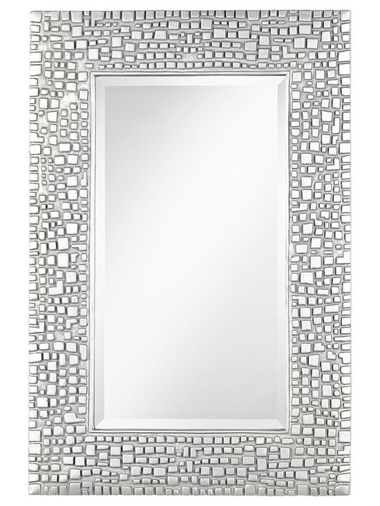 """Lamps Plus - Contemporary Textured Relief 36"""" High Silver Wall Mirror - Add a new texture to your decor with this intriguing mirror design. The silver finish frame is wonderfully textured with a mosaic look that recalls a cityscape viewed from above. Silver finish. Polyurethane frame. Beveled glass. Vertical or horizontal hang. Mirror glass only is 14"""" wide 26"""" high. 24"""" wide. 36"""" high. Hang weight 11 pounds.  Silver finish.   Polyurethane frame.   Beveled glass.   Vertical or horizontal hang.   Mirror glass only is 14"""" wide 26"""" high.   24"""" wide.   36"""" high.  Hang weight 11 pounds."""