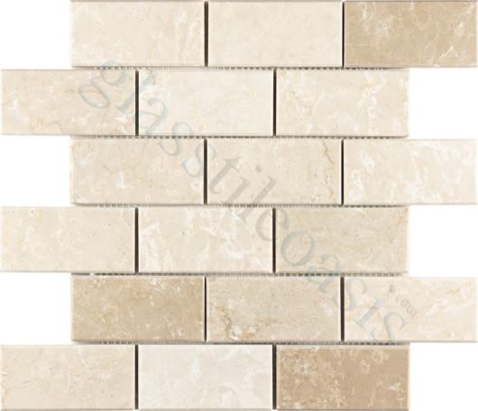 "Botticino Marble 2"" x 4"" Cream/Beige Brick Series Polished Stone modern-tile"