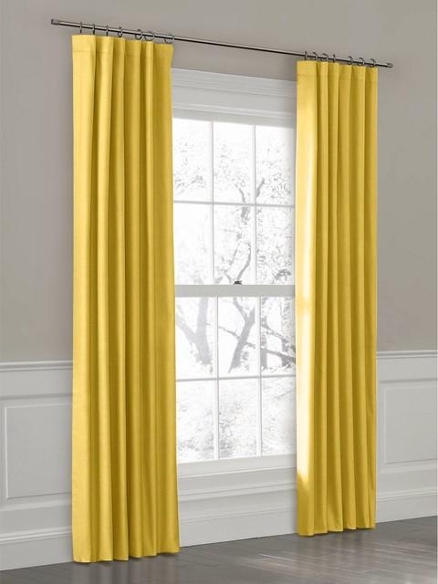 Light pink curtains for kids - Custom Ring Top Drapery Panel In Breezy Linen Mustard