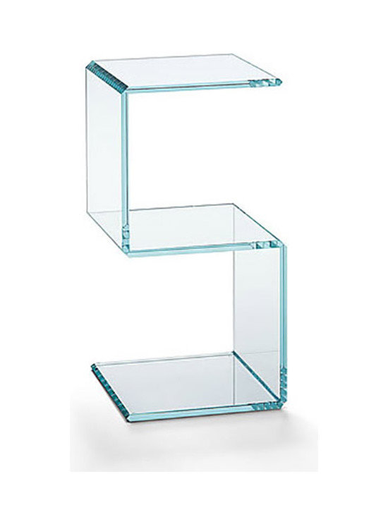 Digit Side Table - Digit side table is an extra clear or transparent glass unit forming numbers that appear just like digital number displays. You can combine several standard size Digit elements to create different units, such as coffee tables, side tables, and shelves. The glass pieces are precision cut and bonded together.