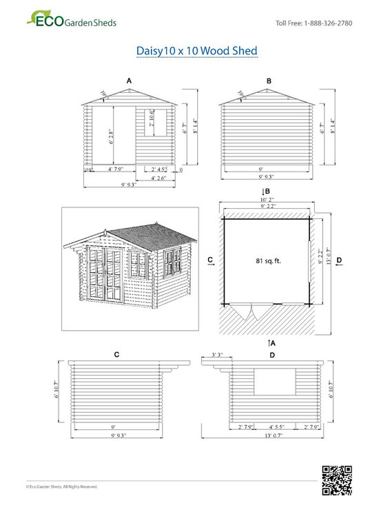 Daisy 10 x 10 Wood Shed / Pool House - ECO Garden Sheds. All natural wood 10 x 10 Tropical pool house/ wood shed -- Daisy. 10 x 10 Wood Shed Blueprint.