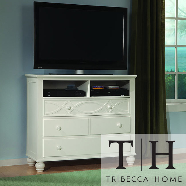 Tribecca home piston cottage white 3 drawer tv media chest contemporary dressers by for White media chest for bedroom