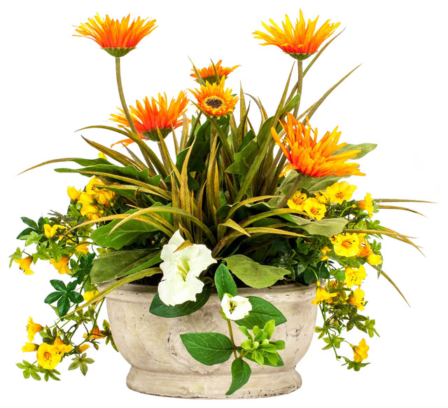 Orange gerbera daisy with petunia arrangement for Artificial flowers for home decoration india