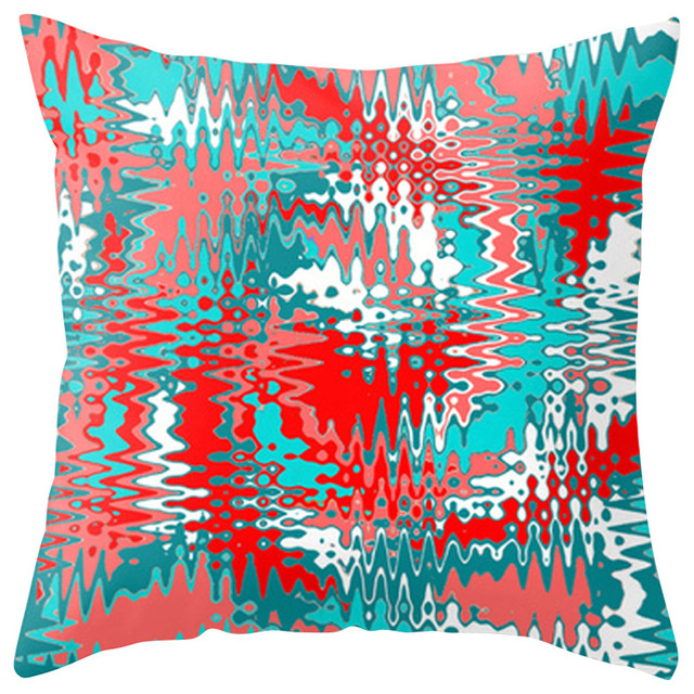 Modern Red and Turquoise Outdoor Pillow - Contemporary - Outdoor Cushions And Pillows - by Crash ...