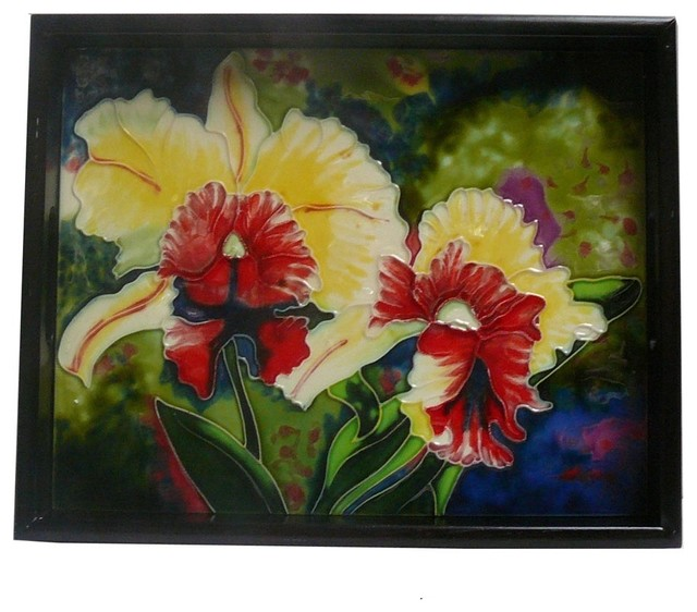 Chinese Porcelain Tile Blossom Flower Theme Wooden Tray eclectic-serving-trays