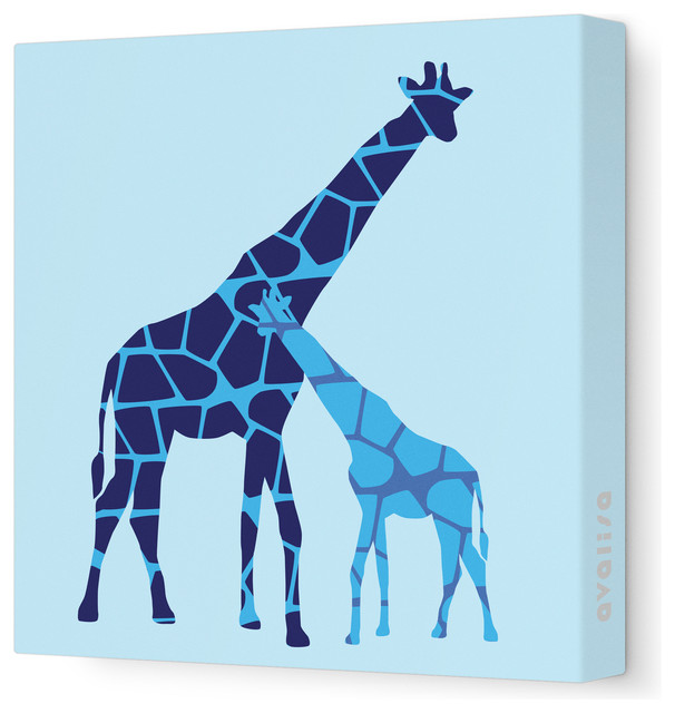 "Animal - Reticulated Giraffe Stretched Wall Art, 12"" x 12"", Blue modern-kids-decor"