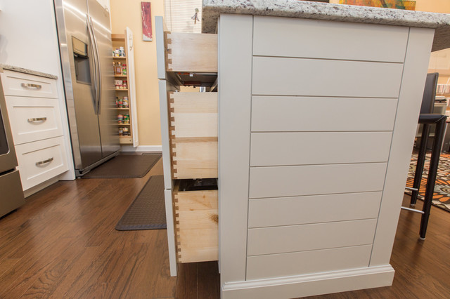 White Shaker Style Kitchen Cabinets with Ship Lap Style Island - Modern - charleston - by Woods ...
