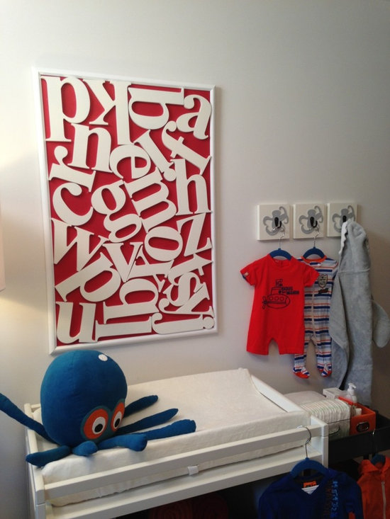 Featured Nursery Alphabet Letters on Property Brothers - Homeworks Etc Octopus wall hooks for the nursery.  Homeworks Etc wooden lowercase wood letters.