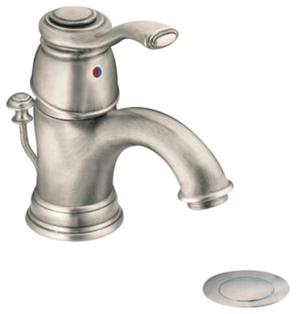 Moen 6102an Antique Nickel Bath Sink Faucet W Drain Assembly Single Lever Handle Modern