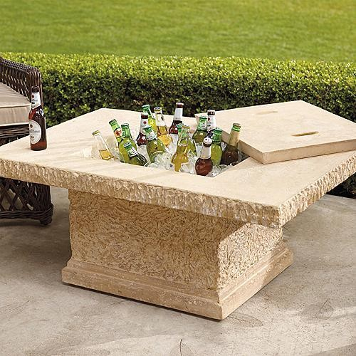Faux-stone Outdoor Brown Table and Beverage Tub traditional-outdoor-dining-tables