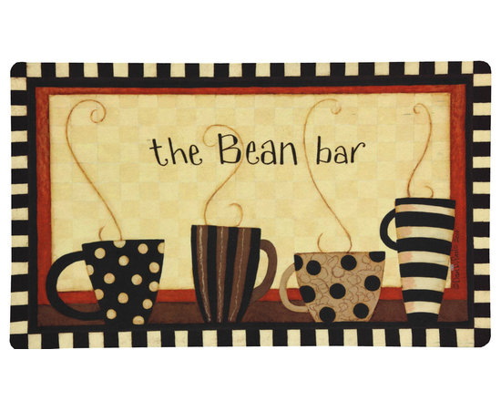 Mohawk Home Kitchen Mat - Coffee Bean Bar - Display your love for coffee with this whimsical mat. Easy to clean, no bleach or detergent necessary, blot spills with a dry cloth & air dry. #MohawkHome #AmericanMade