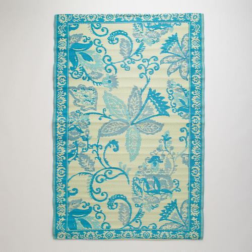 Blue and Ivory Antigua Rio Floor Mat Contemporary