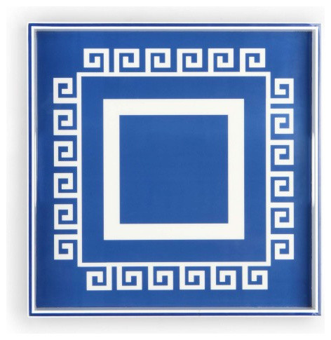 Square Greek Key Lacquer Tray - Modern - Serving Dishes And Platters ...