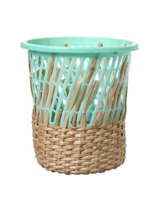 Cordula Kehrer Turquoise Bow Bin - This whimsical Bow Bin waste basket by Cordula Kehrer is a study in contradiction. The Bin is produced by the indigenous Aeta people of the Philippines via fair trade NGO.