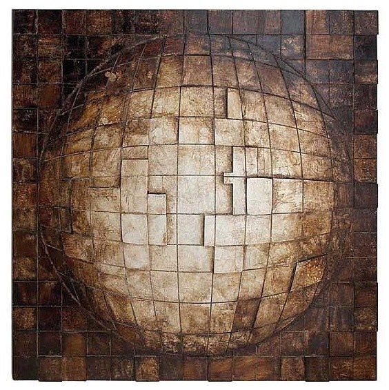 Square Globe Wood Wall Sculpture Eclectic Artwork By