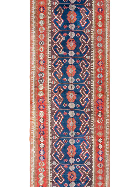 "Antique Turkish Oushak Carpets - #1608 antique Turkish Oushak Kilim runner 4'4"" x 13'10"""