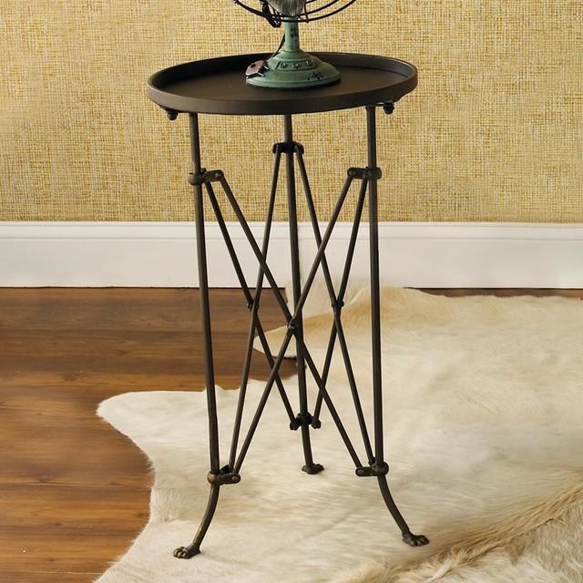 Metal End Table : Round Metal Trestle Base Side Table - Side Tables And End Tables - by ...