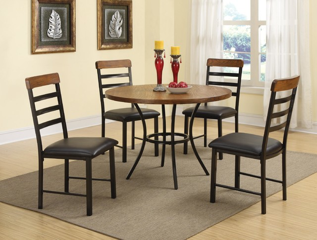 5 PC Casual Oak Black Wood Dining Room Set Round Table Chairs Leather Conte