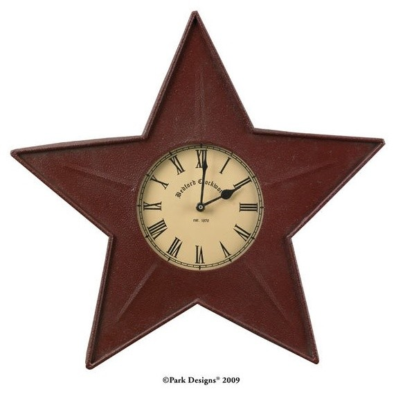 Red Star Wall Decor : Red metal star wall clock
