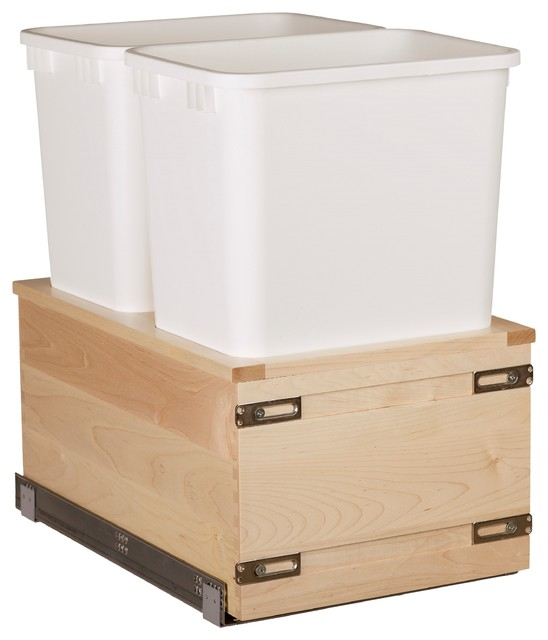 """Century Components 35 Qt Double Soft Close Pull Out Waste Bin - Maple, 14-7/8"""" - Traditional ..."""