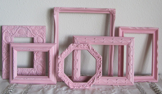 Pink Picture Frames, Shabby Chic Girls Room Nursery by The Shabby Chateau contemporary frames
