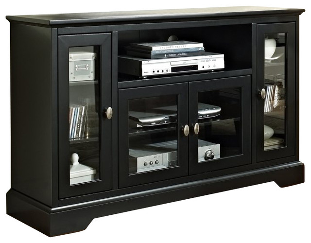 Walker Edison 52 in. Highboy Style Wood TV Stand in Black modern-entertainment-centers-and-tv-stands