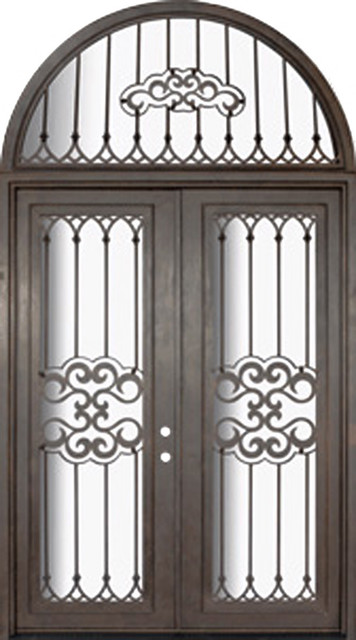 Tivoli 72x96 forged iron steel double door and half round for Half round transom