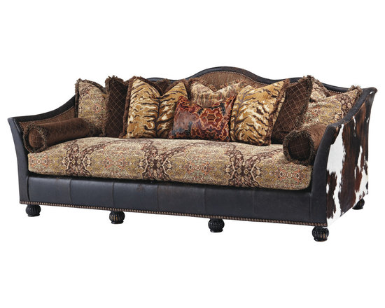 Brook Copper Sofa - This striking design brings ragtime leather together with tri-color cowhide for a masculine, yet elegant room statement!