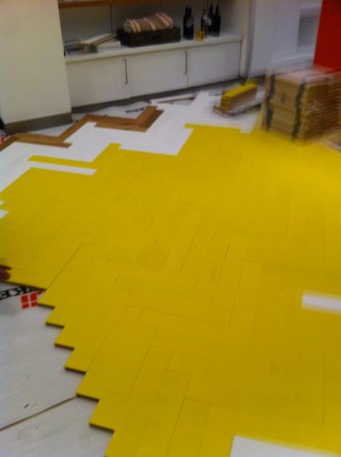 Selfridges Big Yellow Floor contemporary-hardwood-flooring