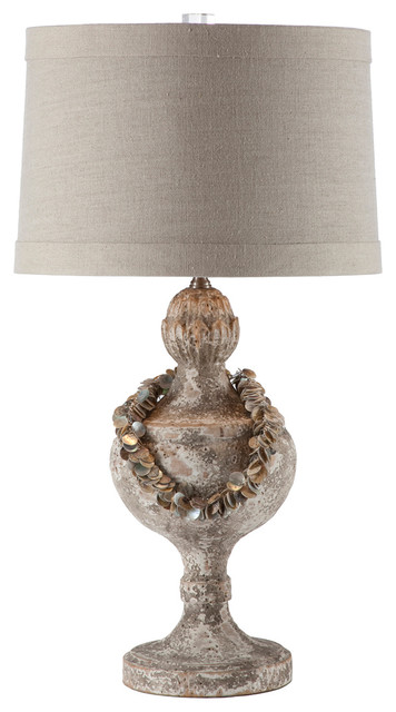 Pair Coastal Beach Urn Table Lamp with Vintage Shell Collar Necklace transitional-table-lamps