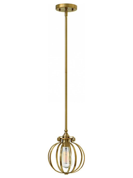 Hinkley Lighting - Congress 111 Mini Pendant - The Congress 111 Mini Pendant is available in an Antique Nickel, Brushed Caramel, Chrome, or Oil Rubbed Bronze finish. One 100 watt 120 volt Edison A-shape type medium base bulb is required, but not included. 8 inch width x 9.5 inch height. Canopy diameter is 4.75 inches. One 6 inch and two 12 inch downrods are included for a maximum hanging length of 42 inches. May be installed on sloped ceilings up to 90 degrees.