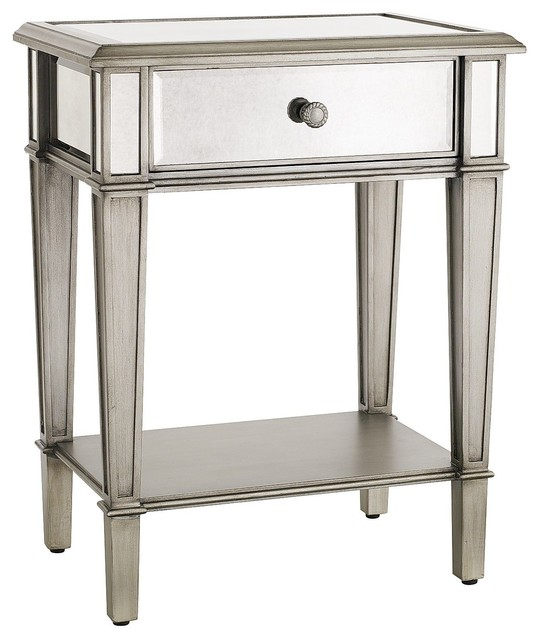 Hayworth Nightstand, Silver - traditional - nightstands and