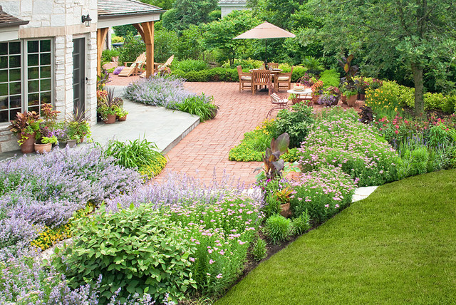 French country garden traditional landscape chicago for Home garden landscape designs