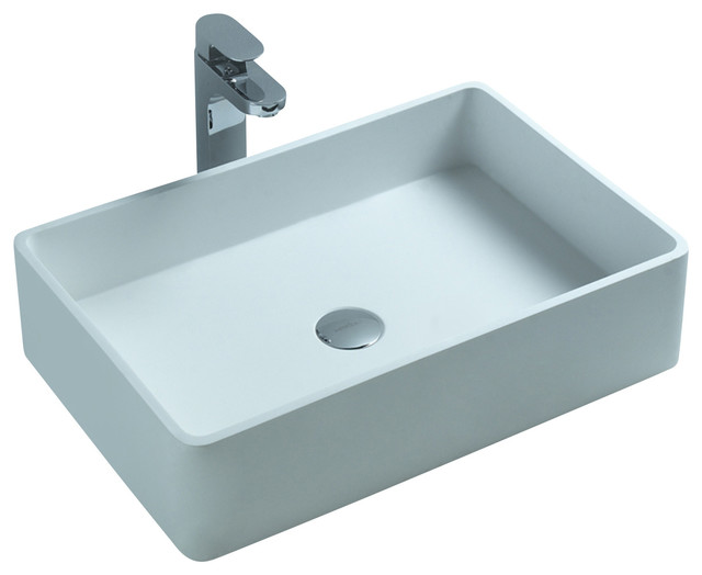 Stone Resin Sink : ADM White Countertop Stone Resin Sink - Contemporary - Bathroom Sinks ...