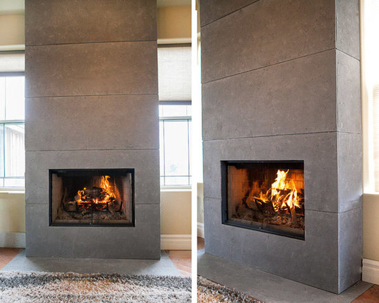 Fireplace Mantels and Surrounds - Lightweight concrete wall panels designed and handmade by DEKKO Concrete.   Available in a variety of sizes, 6 colour choices  and available for shipment worldwide.