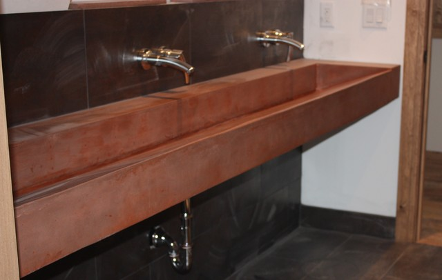 Modern Trough Sink : Concrete Infinity Slot Drain Trough Sink contemporary-bath-products