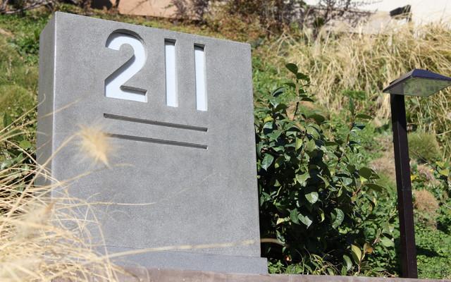 Concrete Home Address Sign modern