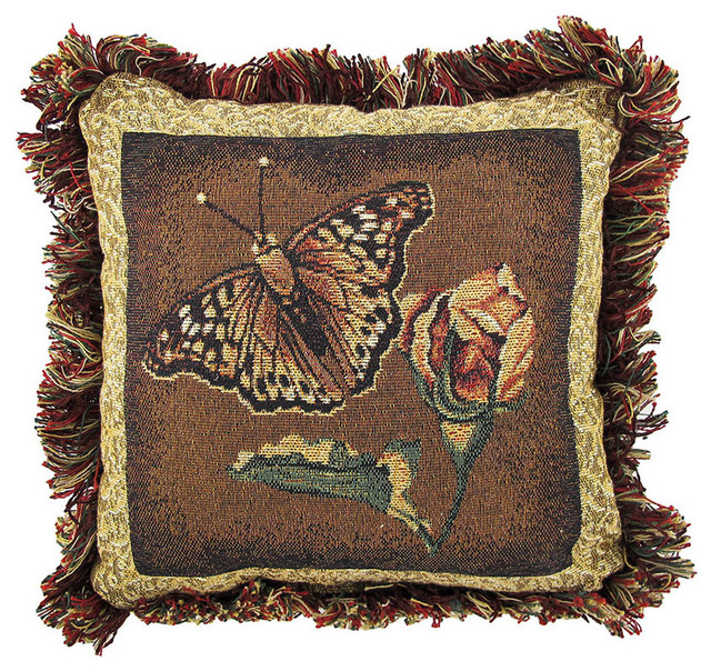 Butterfly / Dragonfly Reversible Tapestry Throw Pillow 12 in. contemporary-decorative-pillows