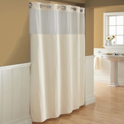Hookless Waffle Fabric Shower Curtain And Liner Set In Cream Contemporary Shower Curtains